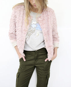 Faux Fur Button Front Sequin Detail Jacket