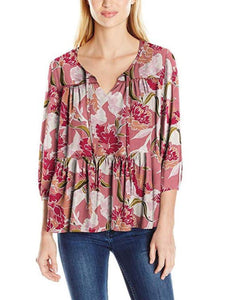 3/4 Sleeve Self-Tie Floral Peplum Blouse