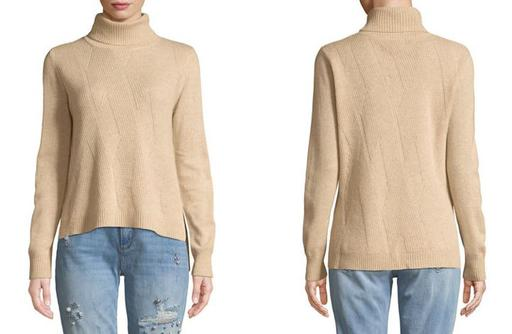 Long Sleeve Turtleneck Wool Cashmere Sweater