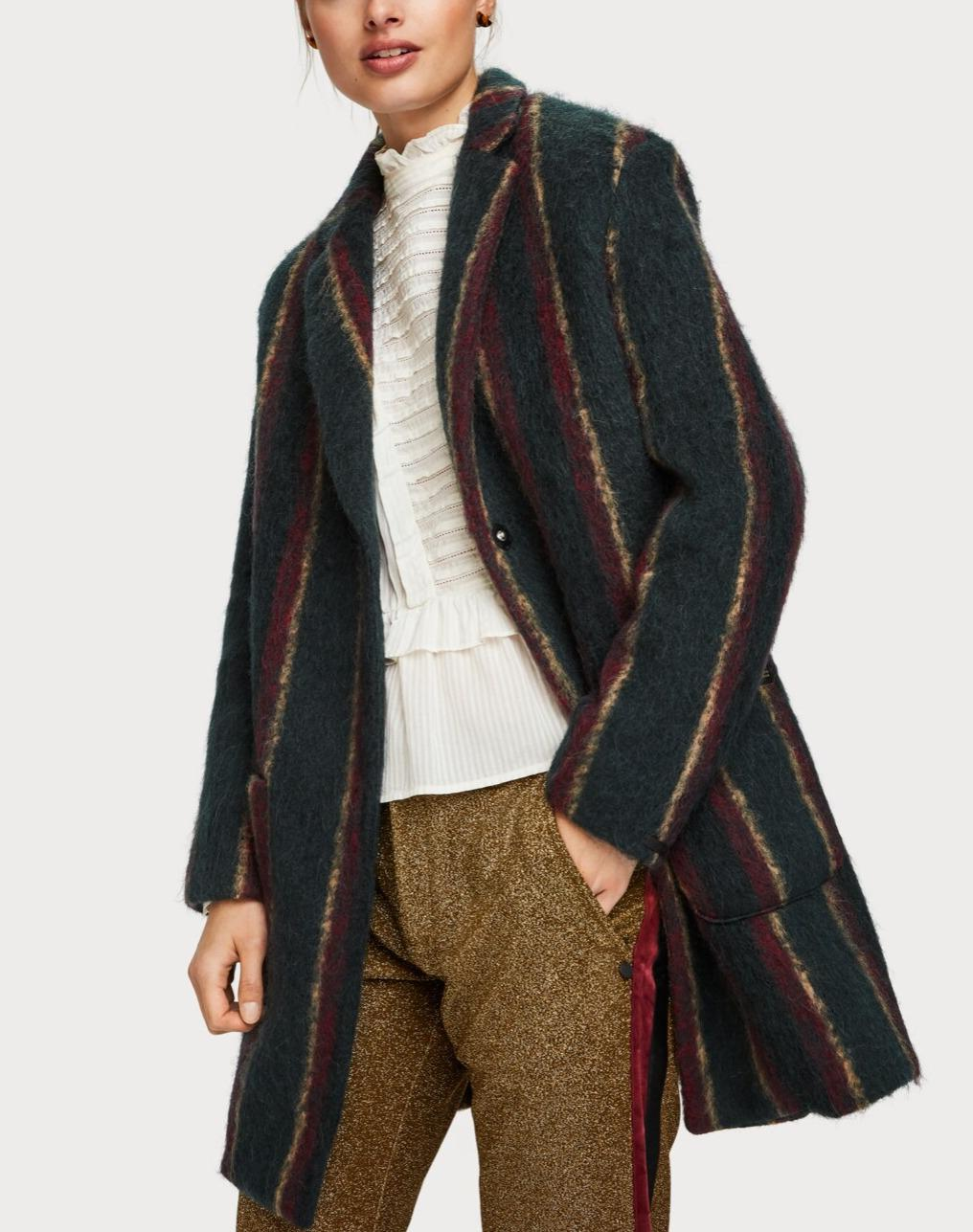 Brushed Wool Blend Cocoon Coat