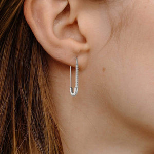 Safety Pin Earrings - Sterling Silver