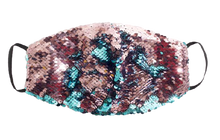 Load image into Gallery viewer, Teal & Pink Sparkly Mask - S
