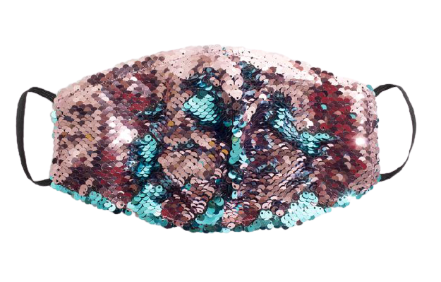 Teal & Pink Sparkly Mask - S