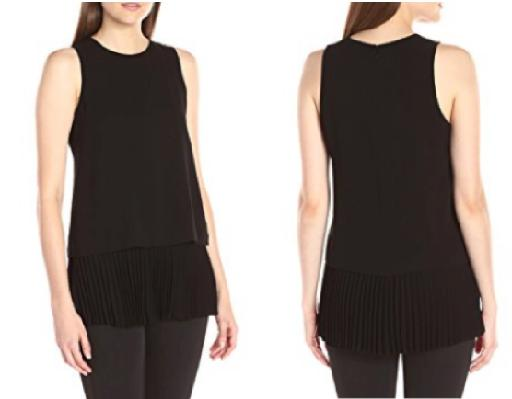 Sleeveless Pleated Layer Top
