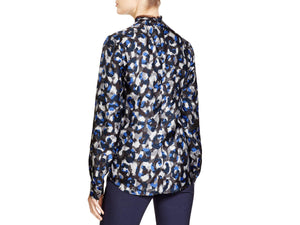 Long Sleeve Neck-Tie Printed Blouse