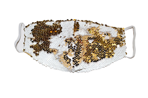 White & Gold Sparkly Mask - S