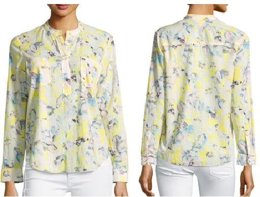 Long Sleeve Splitneck Printed Blouse
