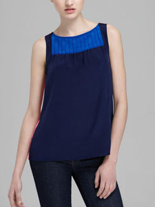 Sleeveless Colorblock Pleated Tank