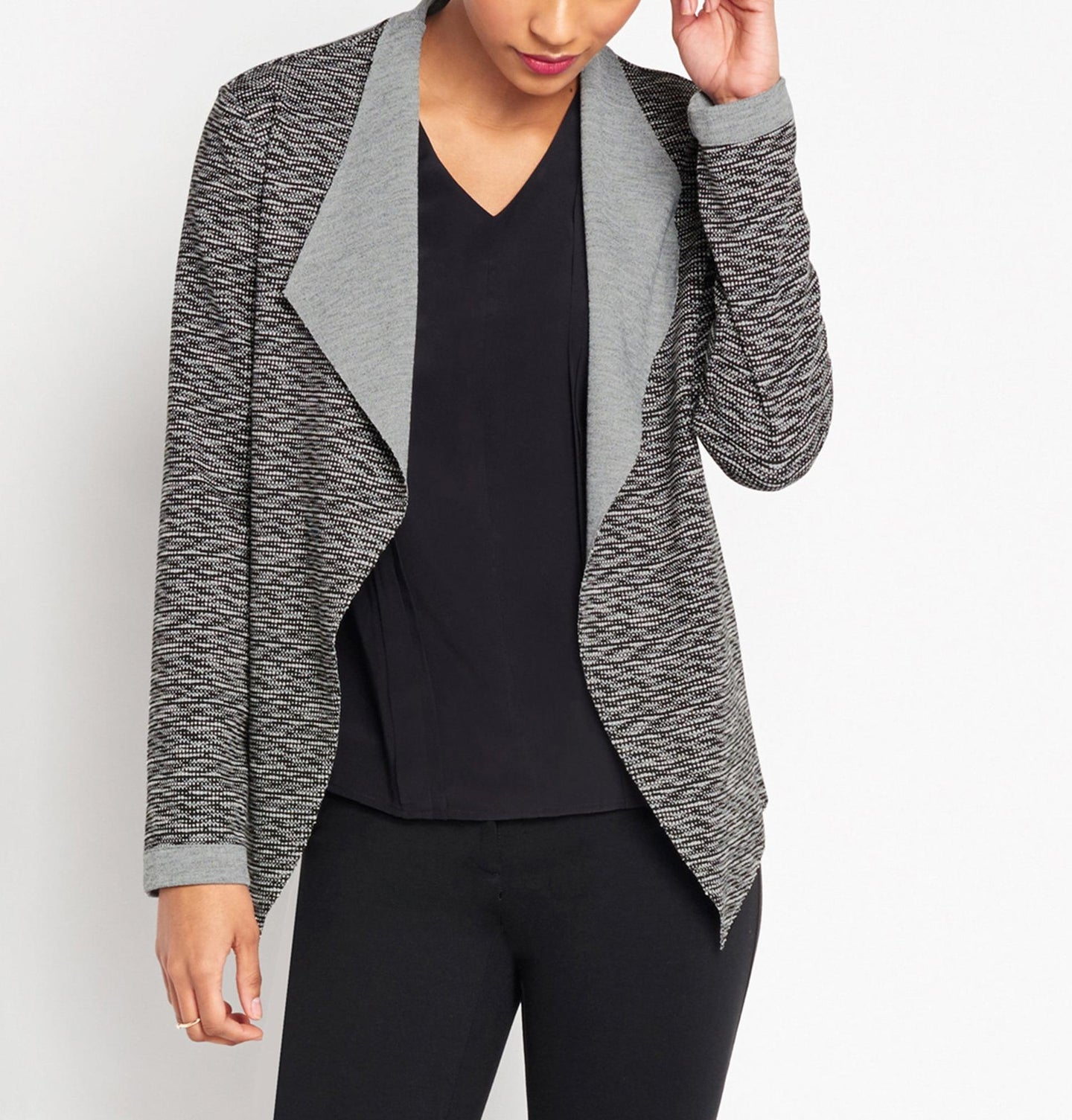Long Sleeve Draped Collar Structured Cardigan