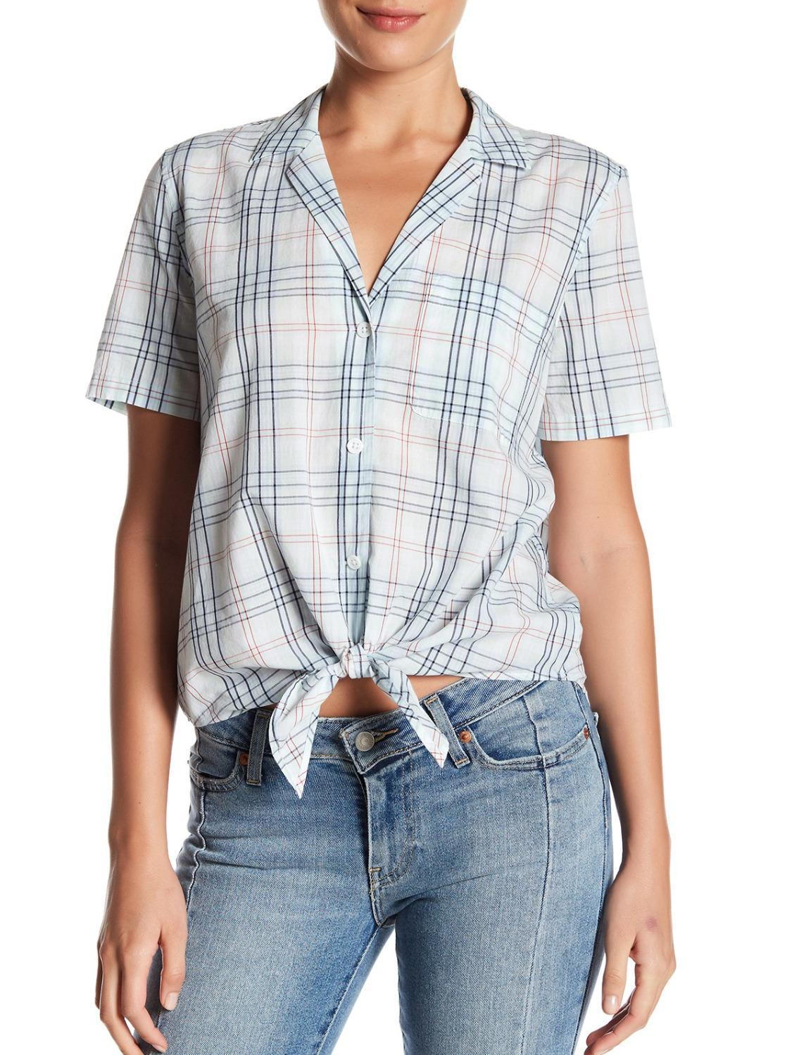 Short Sleeve Collared Front-Tie Plaid Button-Up Shirt