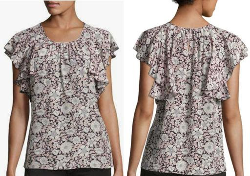 Floral Cap Sleeve Button-Front Silk Blouse