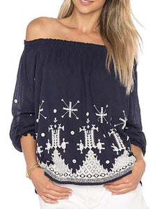 Off the Shoulder Top with Embroidery