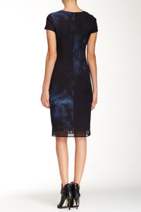 Cap Sleeve Printed Mesh Overlay Sheath Dress