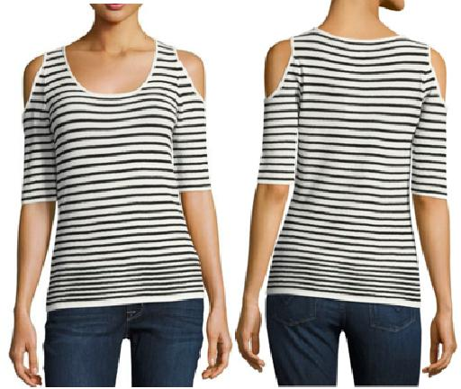 Short Sleeve Cold Shoulder Striped Top