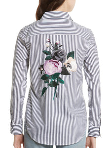 Long Sleeve Button-Up Striped Shirt With Embroidered Flower Patch