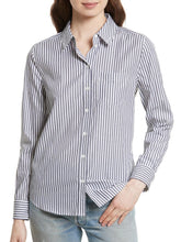 Load image into Gallery viewer, Long Sleeve Button-Up Striped Shirt With Embroidered Flower Patch