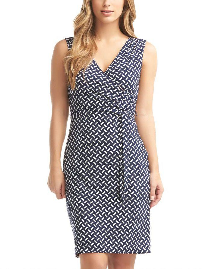 Sleeveless Faux-Wrap Reversible Print Dress