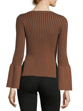 Load image into Gallery viewer, Ribbed Bell Sleeve Sweater Blouse