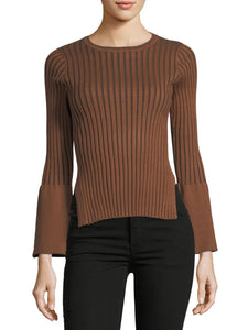 Ribbed Bell Sleeve Sweater Blouse