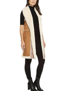Faux Lamb Suede Colorblock Open Hang Vest
