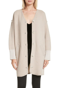 Long Sleeve Button-Up Cashmere Cardigan