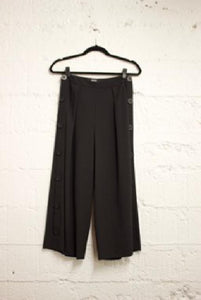 Wide Leg Cropped Pants w/ Side Seam Button Closure