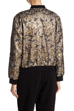 Load image into Gallery viewer, Long Sleeve Metallic Foil Jacquard Bomber