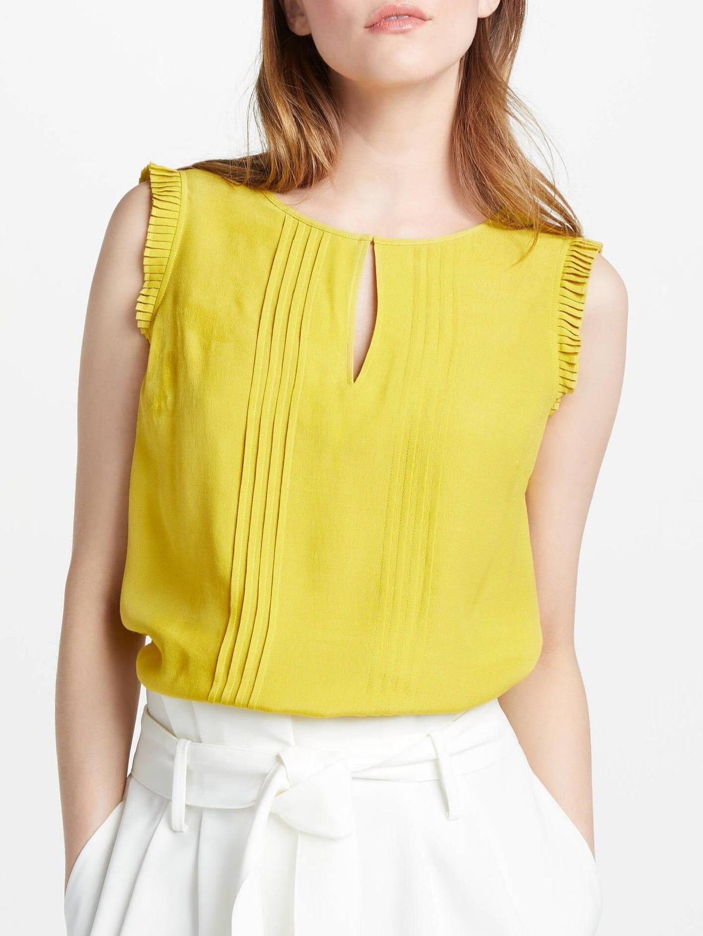 Sleeveless Keyhole Pleat Front Blouse