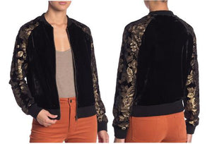 Long Sleeve Sequin and Velour Detailed Bomber