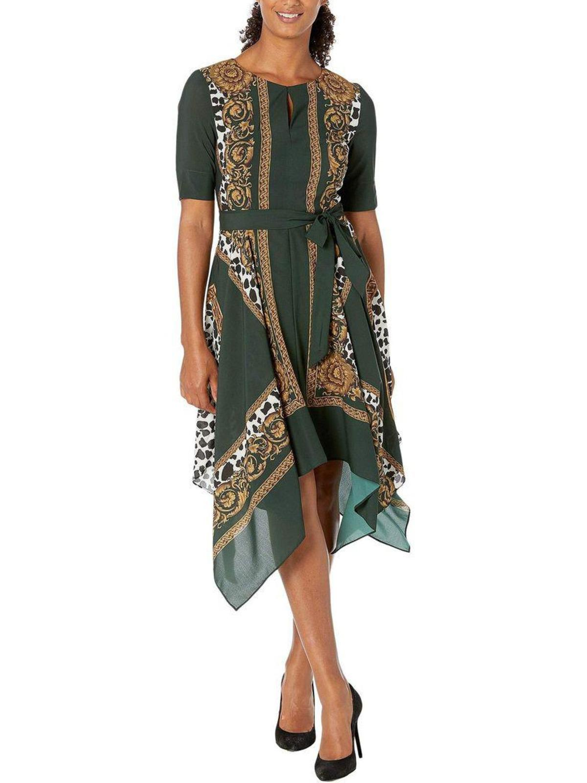 Split Neck Belted Scarf Dress