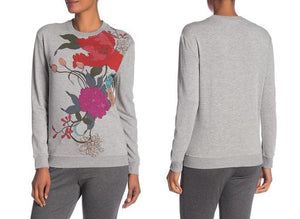 Long Sleeve Floral Print Sweatshirt