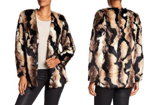 Long Sleeve V-Neck Faux-Fur Coat