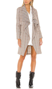Draped Front Cinched Waist Trench