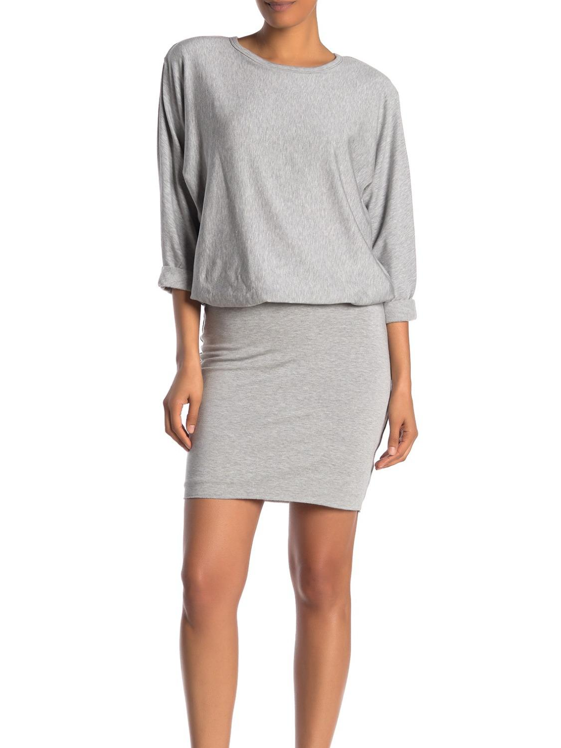 3/4 Sleeve Padded Jersey Dress