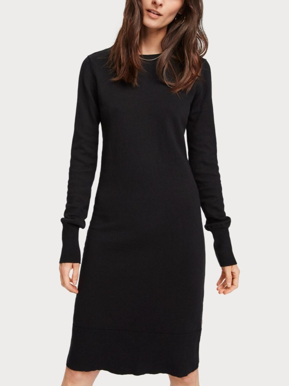 Wool Blend Ribbed Trim Sweaterdress
