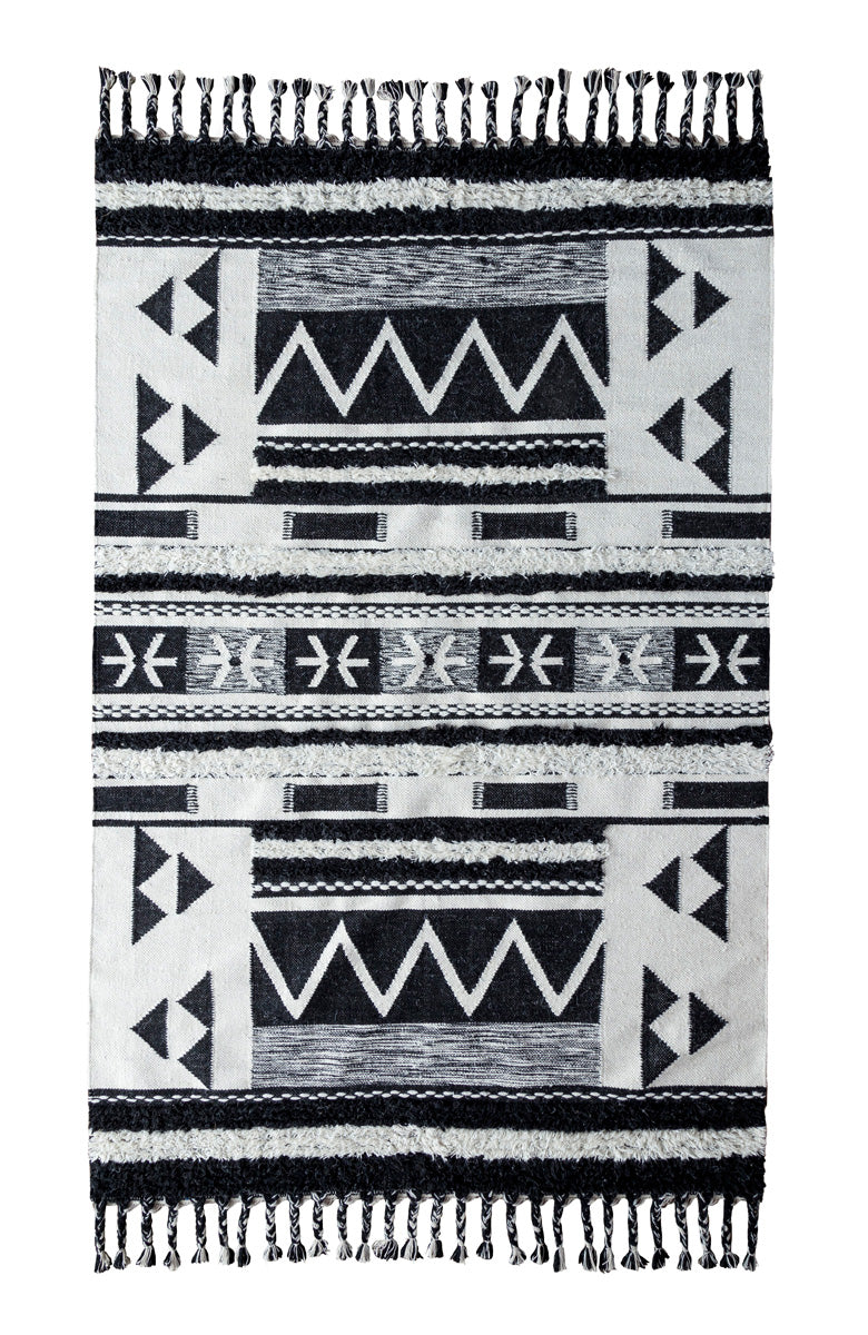 Luxury Collection - Artesia Kilim Shag Ivory & Black Rug