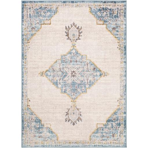 Farmhouse Ankara Sky Blue & Ivory Rug