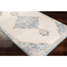 Load image into Gallery viewer, Farmhouse Ankara Sky Blue & Ivory Rug