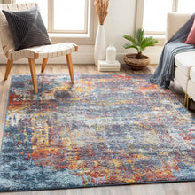 Load image into Gallery viewer, Farmhouse Ankara Teal & Burnt Orange Rug