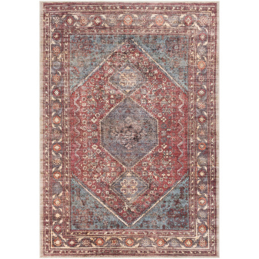 WASHABLE Amelie Denim & Dark Rose Area Rug
