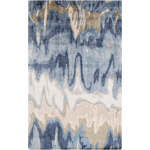 Gemini Contemporary Rug in Beige & Denim