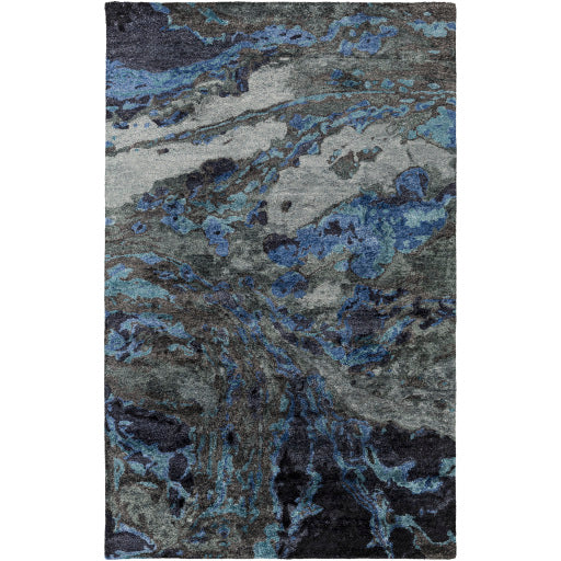 Gemini Contemporary Rug in Dark Navy & Charcoal