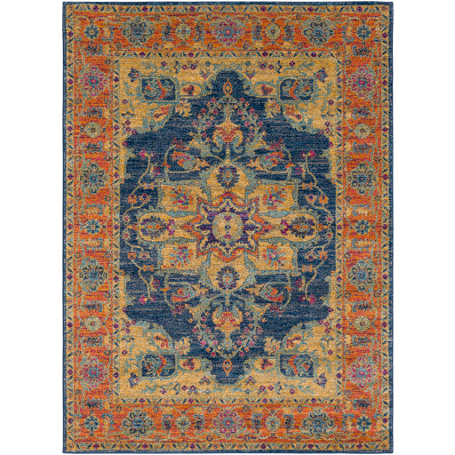 Surya Harput Farmhouse Area Rug - Terracotta & Navy