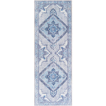 Load image into Gallery viewer, Iris Farmhouse Ice Blue & Navy Area Rug