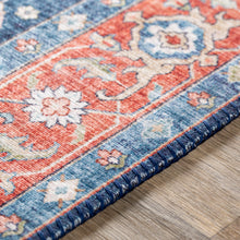 Load image into Gallery viewer, Iris Farmhouse Area Rug in Terracotta & Navy