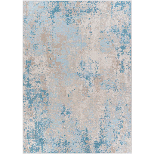 Pet-Friendly Costa Mesa Sky Blue & Cream Area Rug