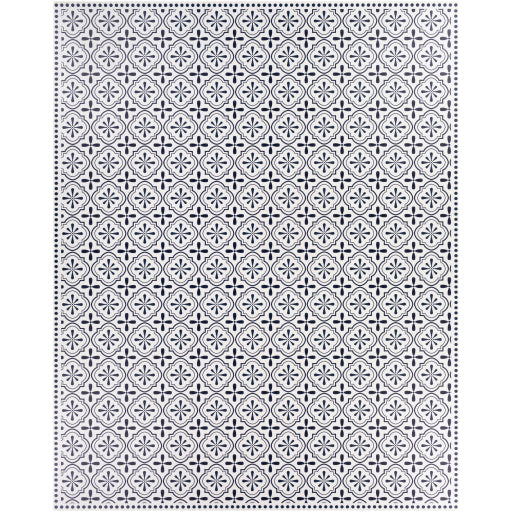 Pet-Friendly Vinilo Navy & White Area Rug