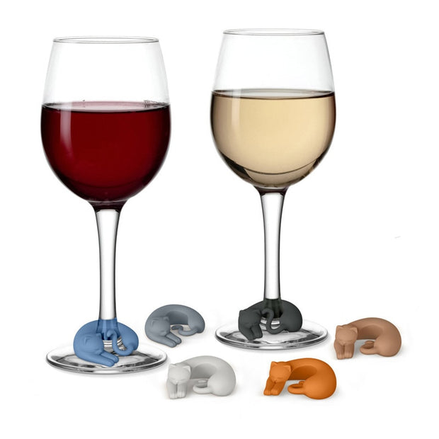 Sleepy Kitty Wine Glass Charms - 6 pack - Sublime Feline