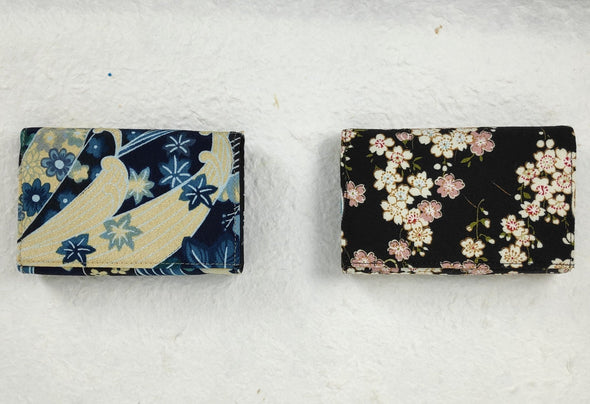 3 Fold Multi Pocket Wallet covered in Japanese chirimen crepe fabric - Pac West Kimono