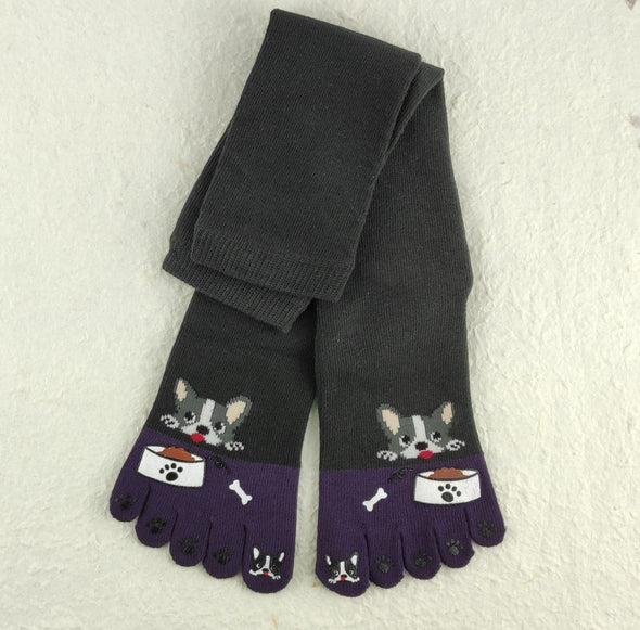 5 toe Japanese knee high socks. Cute French bull dogs. Anime school socks - Pac West Kimono